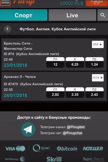 мобильное приложение pin up
